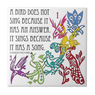 Mah Jongg One Bams Birds/Proverb Tile