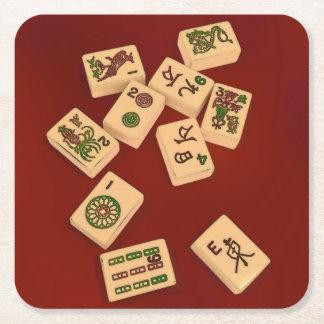 Mah Jongg Play Square Paper Coaster