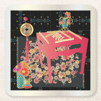 Mah Jongg Red Table Square Paper Coaster