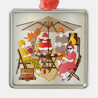 Mah Jongg Tea Party Metal Ornament