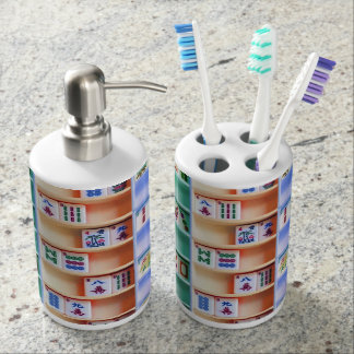 Mah Jongg Toothbrush Holder and Soap Dispenser Set