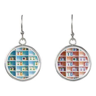 Mah Jongg Two-Colored Tiles Earrings