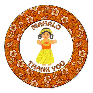 Mahalo Thank You~Hawaiian Luau Girl Card