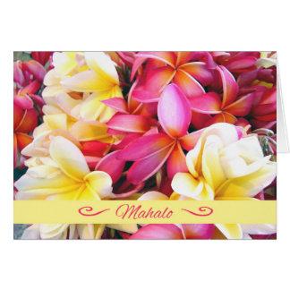 Mahalo, Thank You in Hawaiian, Plumeria Frangipani Card