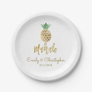 Mahalo Tropical Hawaiian Pineapple Wedding White Paper Plate