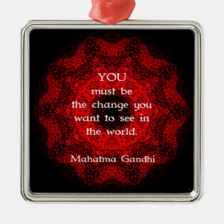 Mahatma Gandhi Wisdom Saying about action Silver-Colored Square Decoration