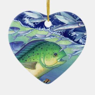 Mahi Mahi (Dolphin Fish) chasing Flying Fish Ceramic Ornament