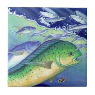 Mahi Mahi (Dolphin Fish) chasing Flying Fish Ceramic Tile