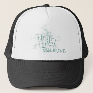 mahjong blue trucker hat