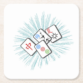 Mahjong Tiles Blue Square Paper Coaster