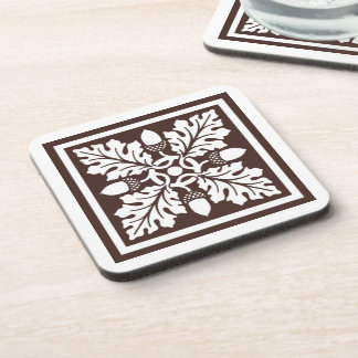 Mahogany Acorn and Leaf Tile Design Coaster