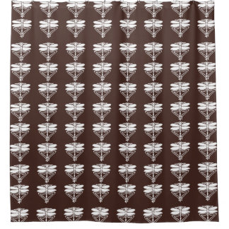 Mahogany Arts and Crafts Dragonflies Shower Curtain