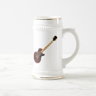Mahogany Electric Metal Guitar Beer Stein