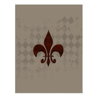 Mahogany Fleur de Lis on taupe Postcard