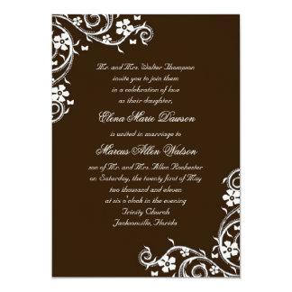 "Mahogany Floral Swirls Wedding Invitation 5"" X 7"" Invitation Card"