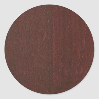 MAHOGANY Wood Finish BUY Blank Blanche add TEXT Classic Round Sticker