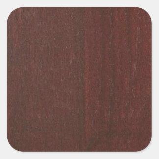 MAHOGANY Wood Finish BUY Blank Blanche add TEXT Square Sticker
