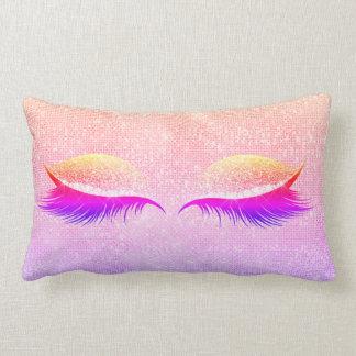Maiami Disco Blush Glitter Black Glam Makeup Pink Lumbar Cushion