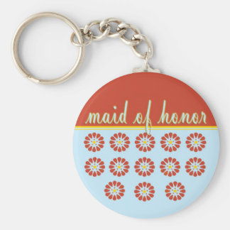 Maid of Honor Basic Round Button Key Ring