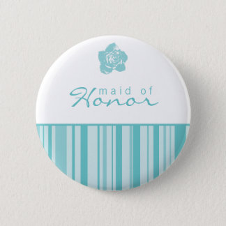 Maid of Honor Button-Modern Stripes (Blue) 6 Cm Round Badge