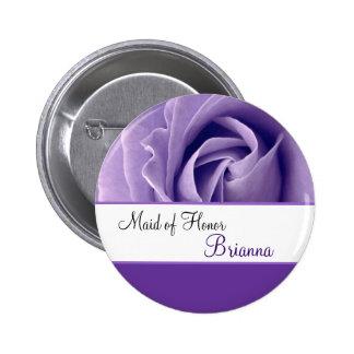 MAID OF HONOR Custom Name Lavender Purple Rose 6 Cm Round Badge