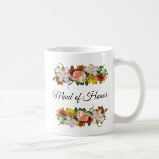 Maid of Honor Floral Rose Bouquet Mug