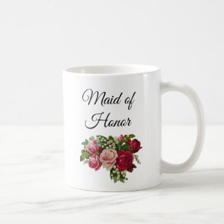 Maid of Honor Floral Roses Bouquet Mug