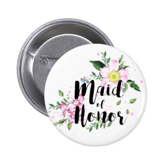 Maid of honor Floral Watercolor Wedding 6 Cm Round Badge