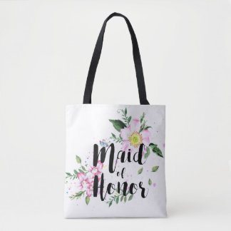 Maid of honor Floral Watercolor Wedding Tote Bag