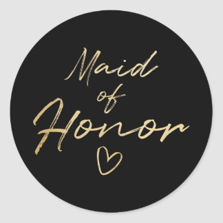 Maid of Honor - Gold faux foil sticker