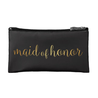 maid of honor golden Makeup Bag