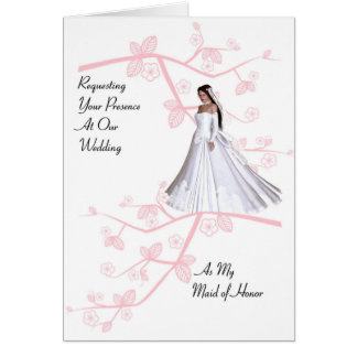 Maid of Honor Invitation with Cherry Blossoms