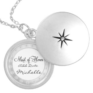 MAID of HONOR LOCKET Necklace For Bridal Party Gif