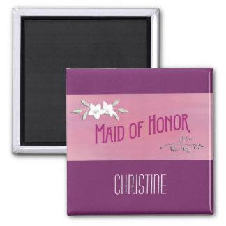 Maid of Honor Magenta Square Magnet