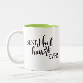 Maid of honor mug with calligraphy styled letterin