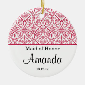 Maid of Honor ornament wedding favor - red elegant
