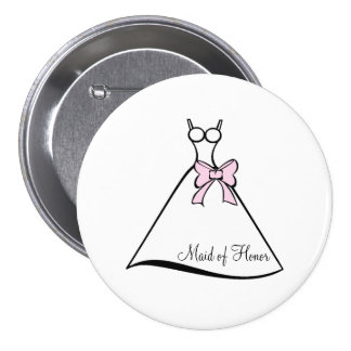 Maid of Honor Pink Bow Gown 7.5 Cm Round Badge