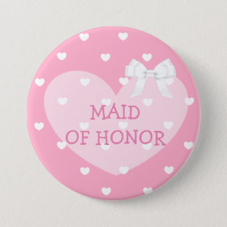 Maid of Honor Pink Hearts White Bow Button