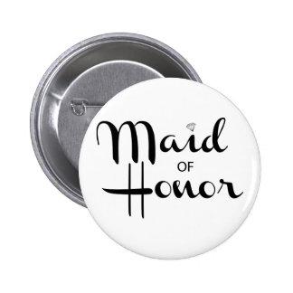 Maid of Honor Retro Script 6 Cm Round Badge