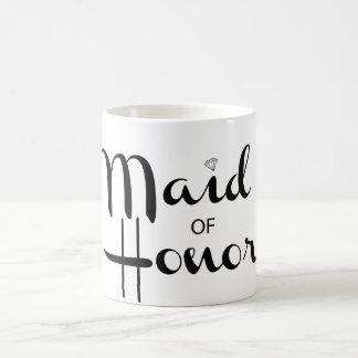 Maid of Honor Retro Script Basic White Mug