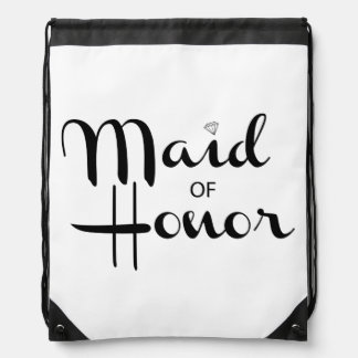 Maid of Honor Retro Script Drawstring Backpacks