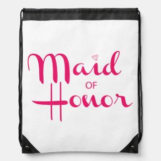 Maid of Honor Retro Script Pink Drawstring Backpack