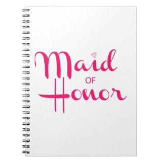 Maid of Honor Retro Script Pink Notebooks