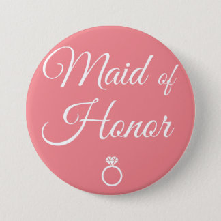 Maid of honor ring 7.5 cm round badge
