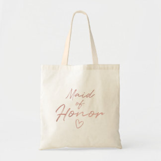 Maid of Honor - Rose Gold faux foil tote bag
