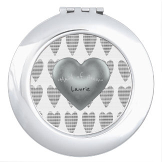 """ MAID OF HONOR "" Round* Silver Heart(s)_Template_ Vanity Mirrors"
