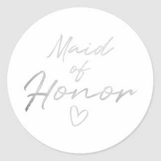Maid of Honor - Silver faux foil sticker