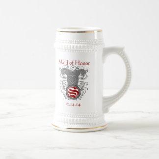 Maid of Honor Stein Wedding Vintage Lion Swirl Beer Steins