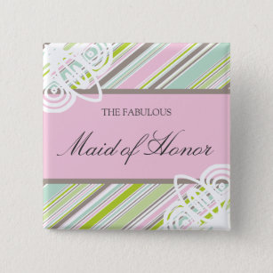 MAID OF HONOR Sweet Garden Stripes Wedding Button