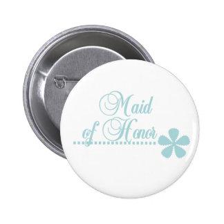 Maid of Honor Teal Elegance 6 Cm Round Badge